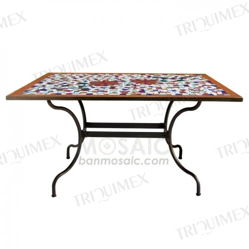 Ceramic mosaic and iron rectangle outdoor garden table Triquimex