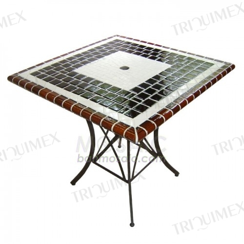 Square Mosaic Patio Table Iron Base