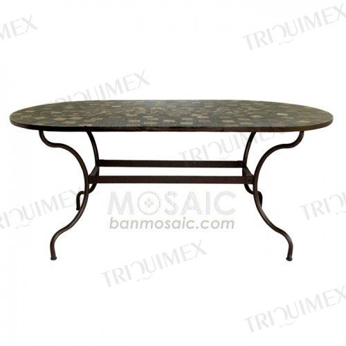 Oval Slate Mosaic Dining Table