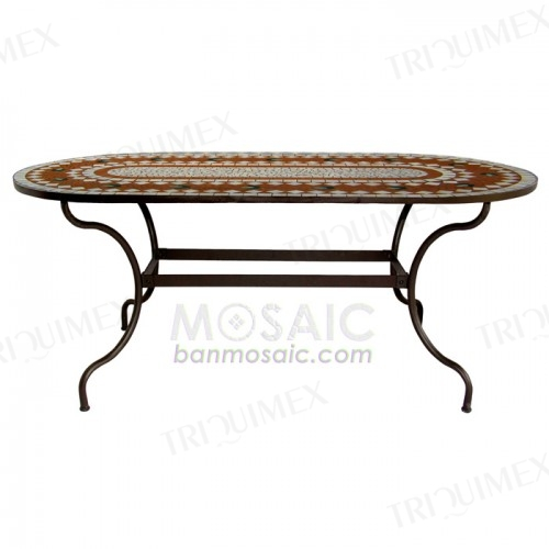 Oval Iron and Mosaic Knock-down Table