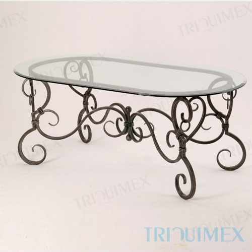 Wrought Iron Table with Oval Glass Top