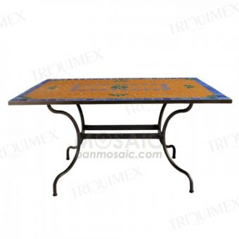 Rectangle Wrought Iron and Mosaic Table