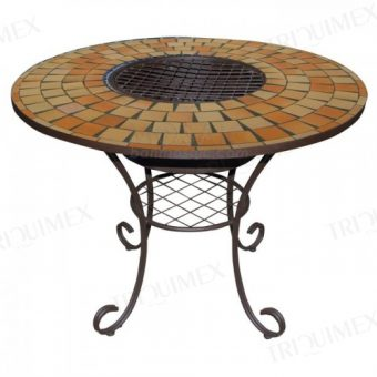 Mosaic BBQ Table with A Charcoal Stove