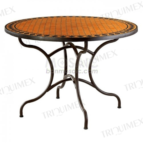 Round Terracotta Mosaic Dining Table