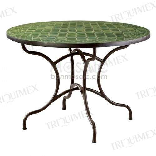 Green Round Mosaic Patio Dining Table