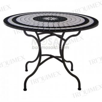 Round Wrought Iron Table with Mosaic Top