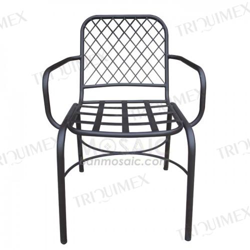 Wrought Iron Lattice Outdoor Armchair