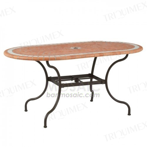 Oval Mosaic Table with Parasol Hole