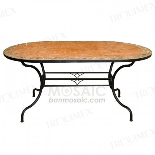 Terracotta Mosaic Table with Iron Base