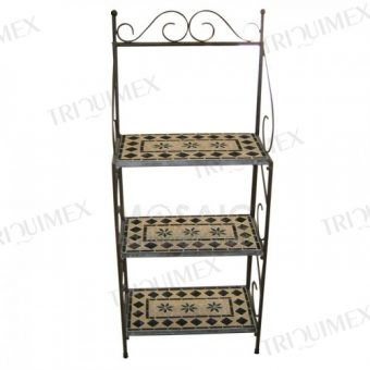 Wrought Iron and Mosaic Bakers Rack