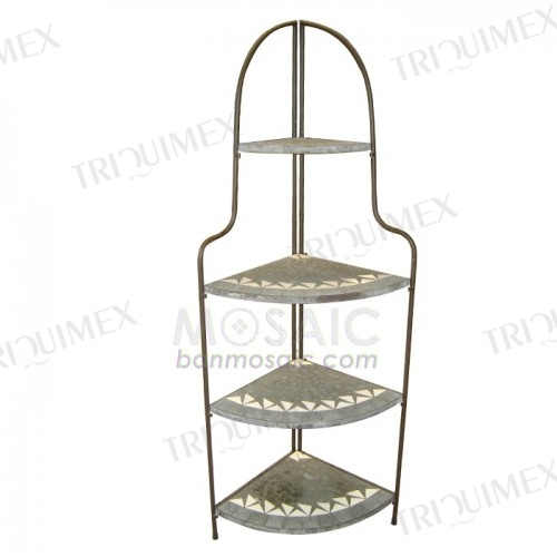 Wrought Iron and Mosaic Corner Shelf
