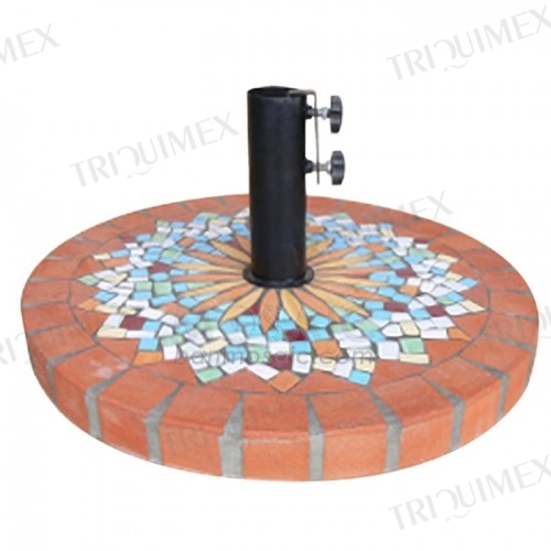 Round Terracotta Mosaic Umbrella Base