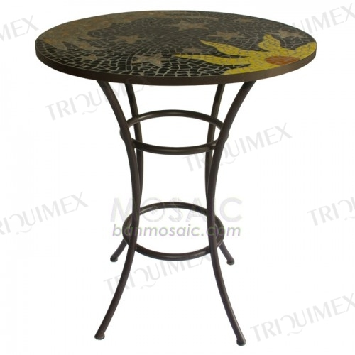 Round Marble Mosaic Patio Table