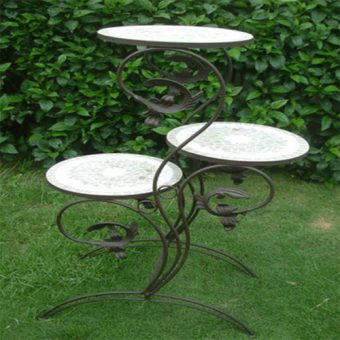 3-Tier Wrought Iron Outdoor Plant Stand