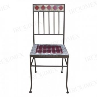 Wrought Iron and Mosaic Patio Chair