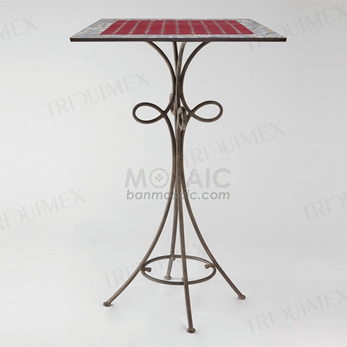 Mosaic Bar Height Bistro Table Iron Base