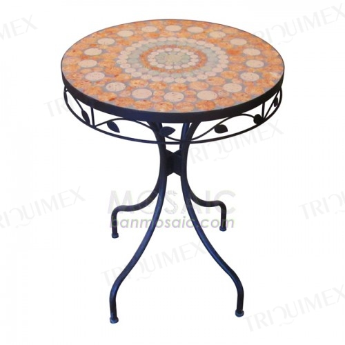 Round Terracotta Tile Top Bistro Table