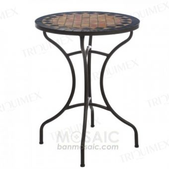 Rustic Round Mosaic Bistro Table