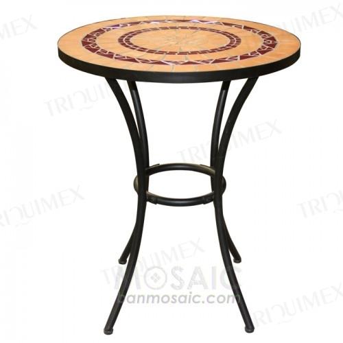 Round Terracotta Mosaic Bar Table