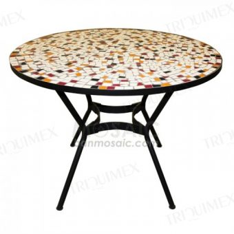 Round Dining Table with Mosaic Top