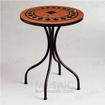 Round Coffee Shop Table with Mosaic Top