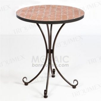 Round Bistro Table Terracotta Mosaic Top