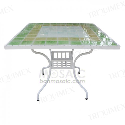 Mosaic Table with Wrought Iron Base