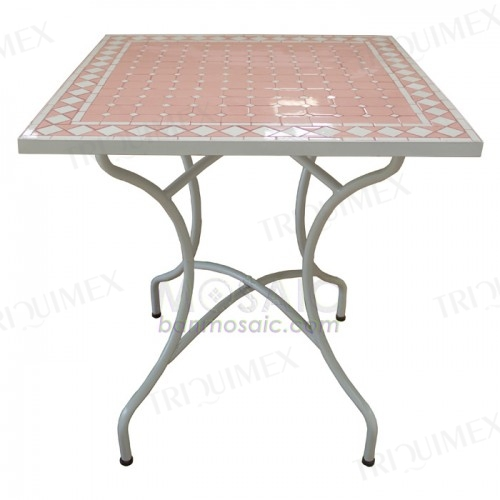 Square Mosaic Top Table with Iron Base