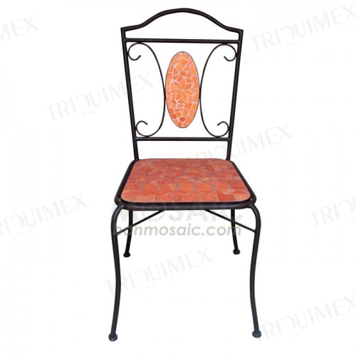 Iron and Terracotta Mosaic Bistro Chair