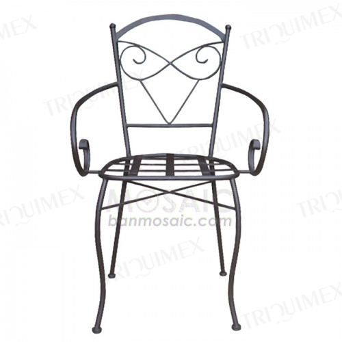 Wrought Iron Chair with Cute Back