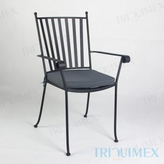 Wrought Iron Dining Armchair Slat Back