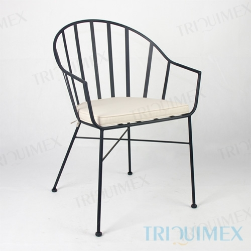 Iron Patio Tub Chair with Slat Back
