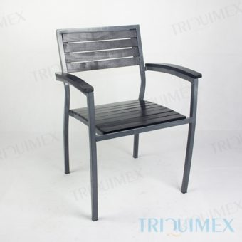 Wrought Iron and Wood Bistro Armchair