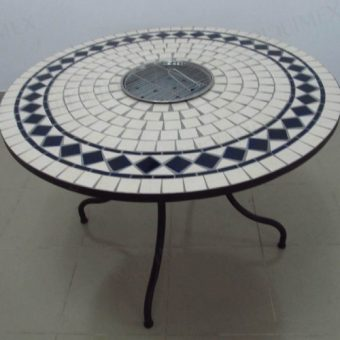 Wrought Iron BBQ Table with Mosaic Top