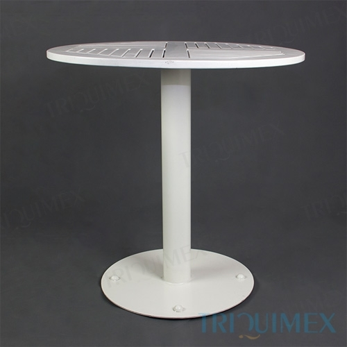 Round Wood Bistro Table with Iron Base