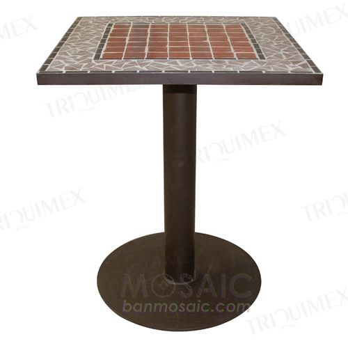 Square Mosaic Bistro Table Iron Base