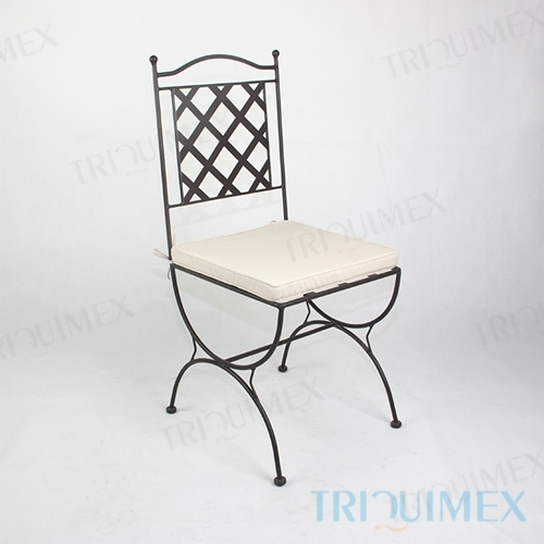 Wrought Iron Chair with Lattice Back