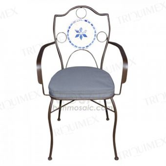 Wrought Iron Chair with Armrests