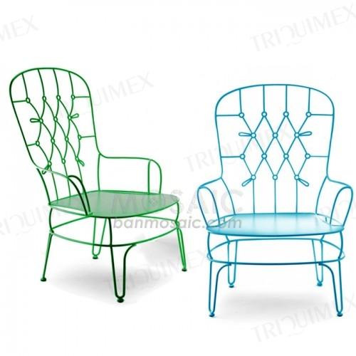 Wrought Iron Hairpin Leg Patio Chair