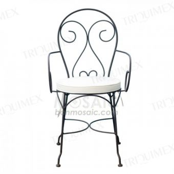 Wrought Iron Patio Chair with Armrests