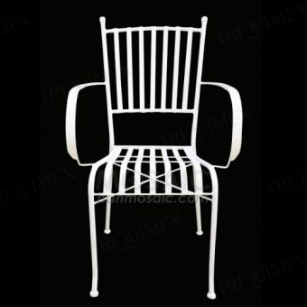 Wrought Iron Slatted Patio Armchair