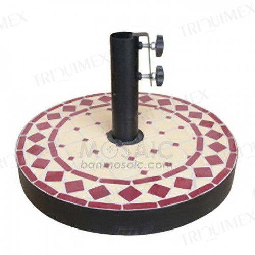 Round Patio Umbrella Base Mosaic Surface