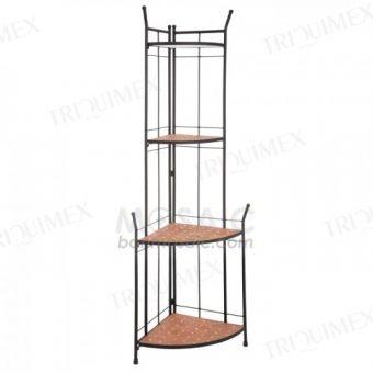 Quarter Round Wrought Iron Corner Shelf