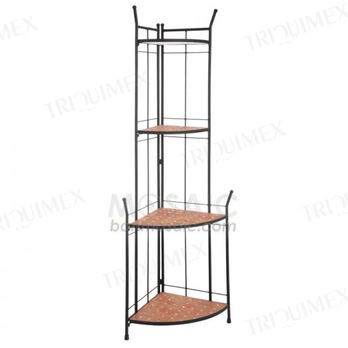 Quarter Round Wrought Iron Corner Shelf