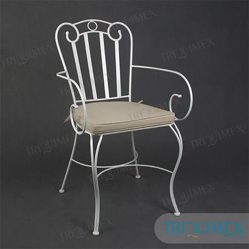 Wrought Iron Slat Armchair with Scroll Patterns