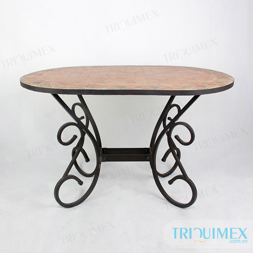 Oval Tile Top Outdoor Dining Table