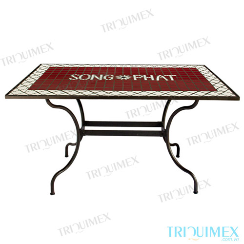 Rectangular Outdoor Tile Top Table