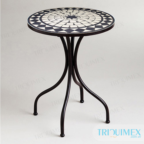 Round Mosaic Table from Outdoor Furniture Manufacturer in Vietnam - Ceramic Mosaic And Wrought Iron Products For Outdoor -Triquimex