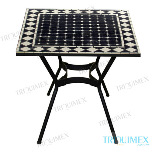 Square mosaic table with wrought iron base for Wrought iron side table base