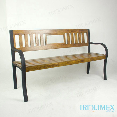 Wrought Iron Outdoor Bench Paneled Wood